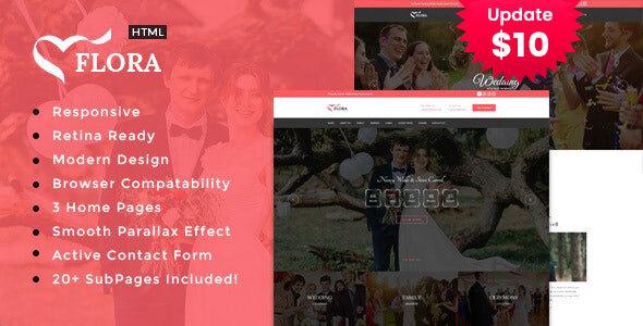 Flora - Responsive HTML Wedding Template
