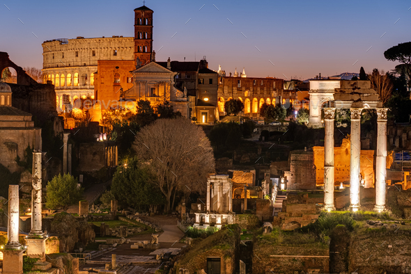 View over the ruins of the Roman Forum - Stock Photo - Images