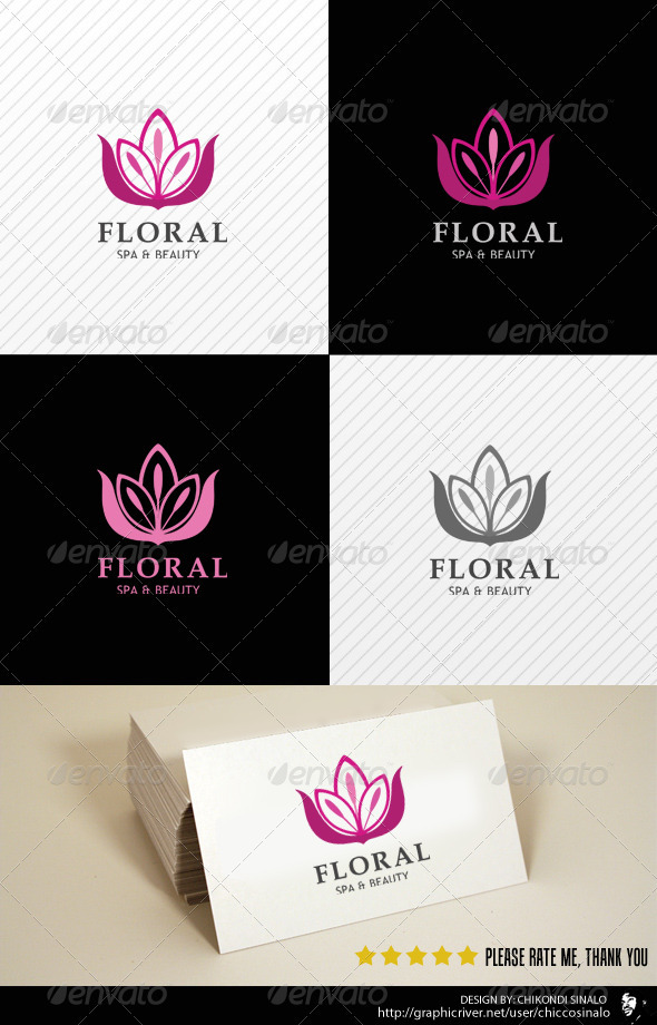 Floral Beauty Spa Logo Template - Letters Logo Templates