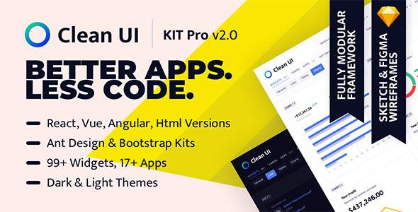 Clean UI KIT Pro — Widgets-driven Admin Dashboard Template by sellpixels_com