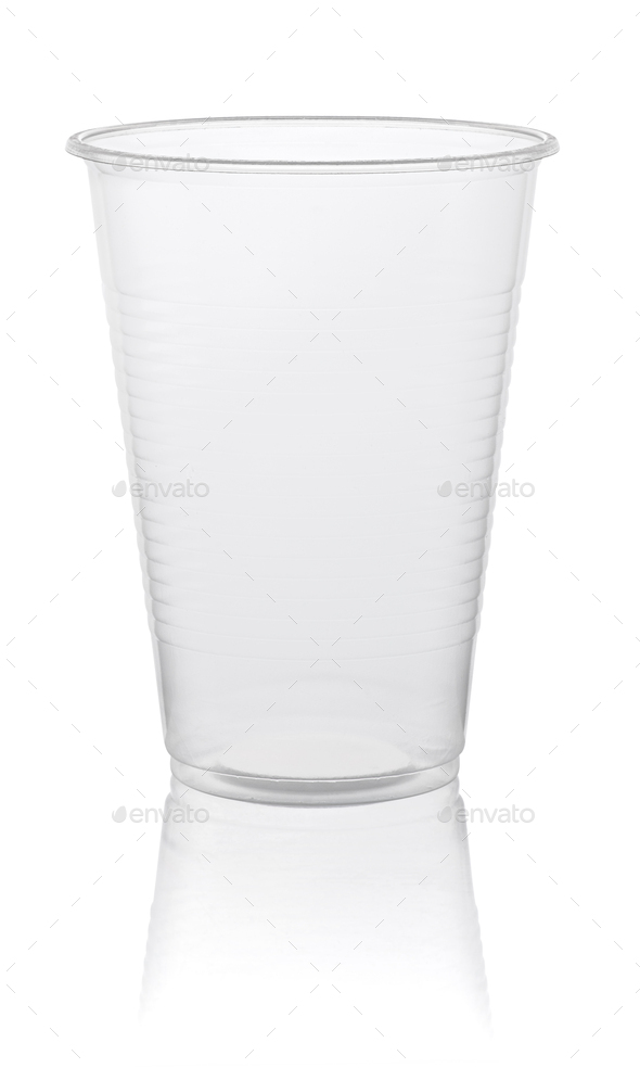 empty plastic transparent disposable cup, isolated on white background with clipping path - Stock Photo - Images