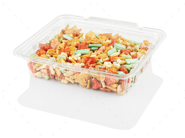 multicolored candy in a disposable plastic container isolated on awhite with clipping path - Stock Photo - Images
