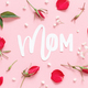 Red flowers and word MOM on a light pink background - PhotoDune Item for Sale