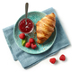 freshly baked croissant on blue plate - PhotoDune Item for Sale