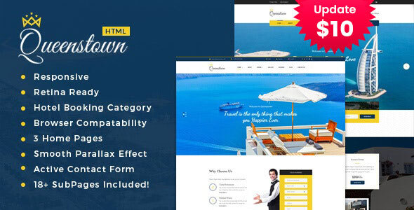 QueensTown - Resort and Hotel HTML Template
