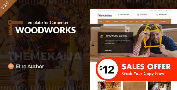 Wood Works - Carpenter and Craftsman Business HTML Template