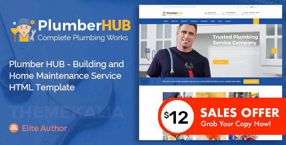 Plumber HUB - Building and Home Maintenance Service HTML Template