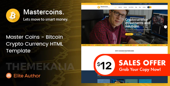 Exceptional Master Coins - Bitcoin Crypto Currency HTML Template