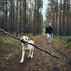 Man with dog on pathway in the middle of forest - PhotoDune Item for Sale