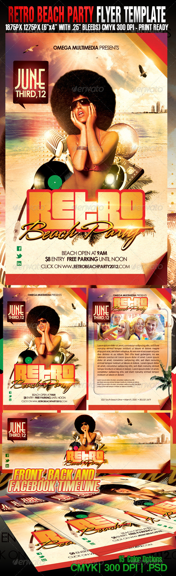 Retro Beach Party - Events Flyers