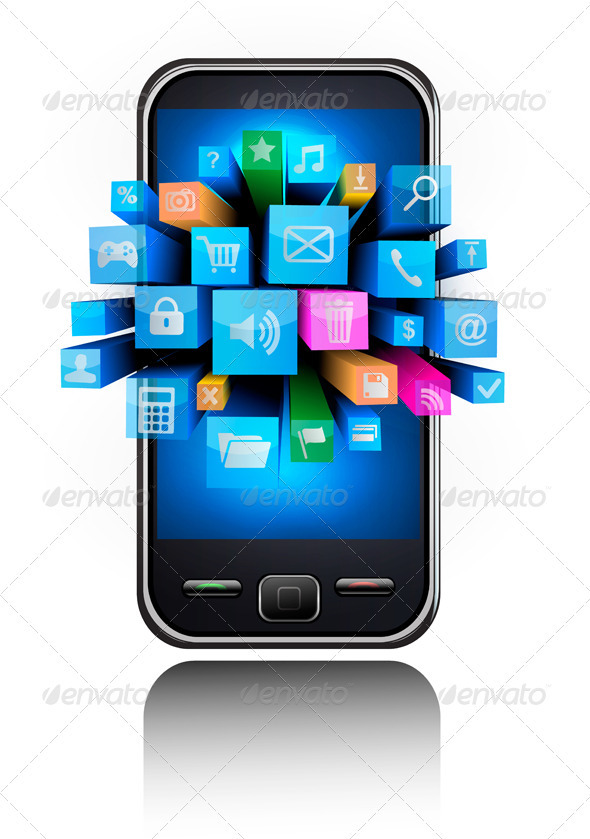 smartphone with blue background and icons - Communications Technology