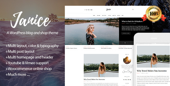 Download Janice – A Responsive WordPress Blog and Shop Theme Free Nulled