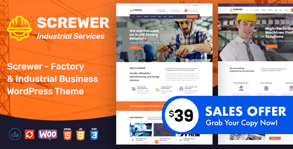 Download Screwer – Factory and Industrial WordPress Theme Free Nulled