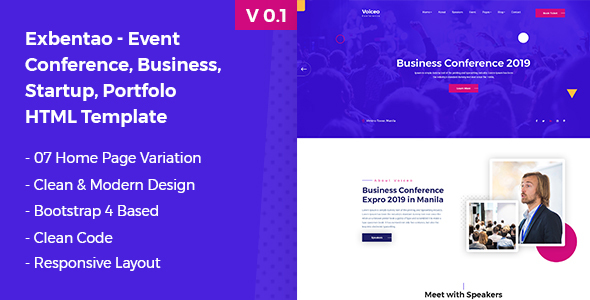 Exbentao- One Page Event & Business Template