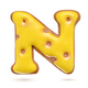 Capital letter N yellow gingerbread biscuit isolated on white. - PhotoDune Item for Sale