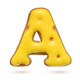 Capital letter A yellow gingerbread biscuit isolated on white. - PhotoDune Item for Sale