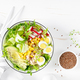 Breakfast oatmeal porridge with fresh vegetable salad and boiled eggs - PhotoDune Item for Sale