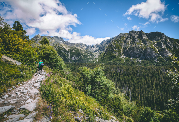The tourists on the walking path. Tatra background - Stock Photo - Images