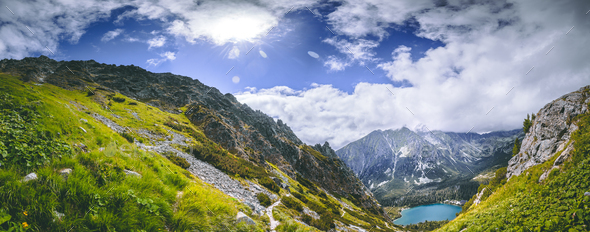 The green valley, Strbske Pleso lake. The Tatras - Stock Photo - Images