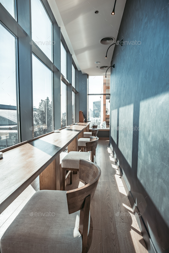 Restaurant interior with panoramic view - Stock Photo - Images