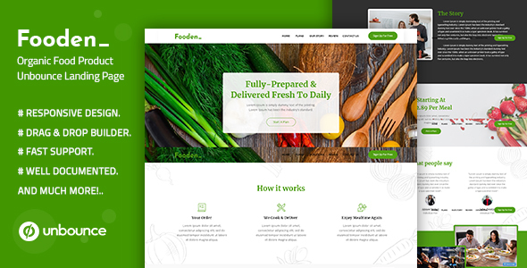 Fooden Unbounce Food Product Landing Page Template By Divine Store