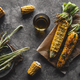 Grilled corn cobs with sauce, coriande. Mexican food. Top view. Copy space, healthy food, vegetables - PhotoDune Item for Sale