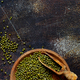 Dried mung beans with a spoon on a dark background - PhotoDune Item for Sale