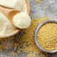 Hulled millet flour and grain top view - PhotoDune Item for Sale