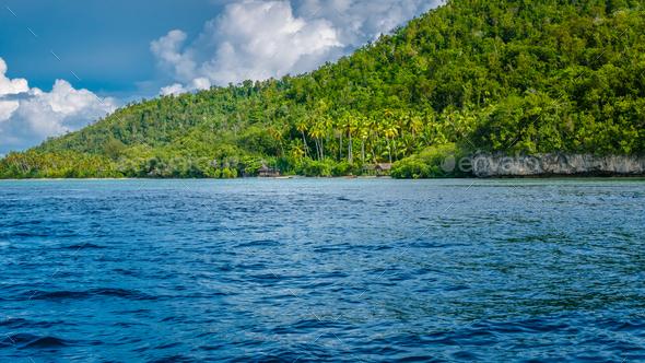 Local Village on Monsuar Island. Raja Ampat, Indonesia, West Papua - Stock Photo - Images