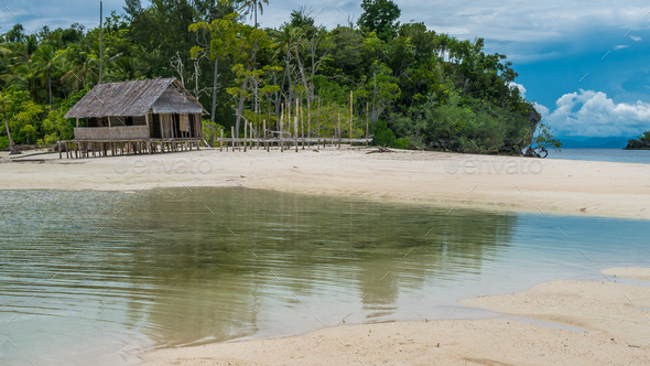 Empty Water Hut on Sand Bank between Kri Island and Monsuar. Raja Ampat, Indonesia, West Papua - Stock Photo - Images