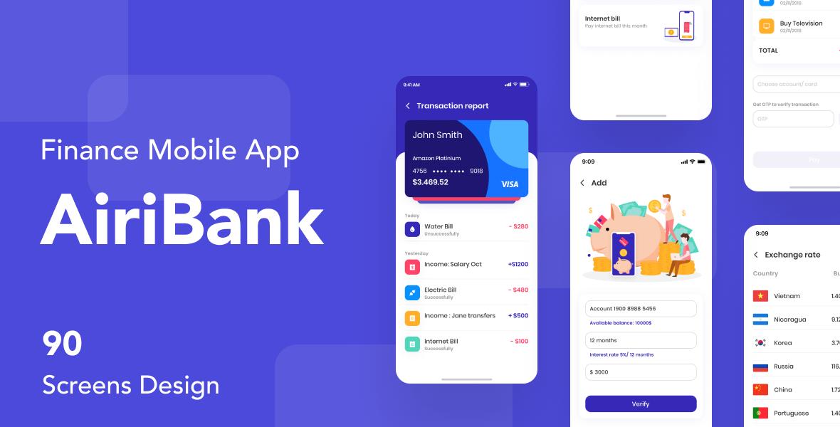 airibank finance mobile app ui kit by capi creative design themeforest airibank finance mobile app ui kit