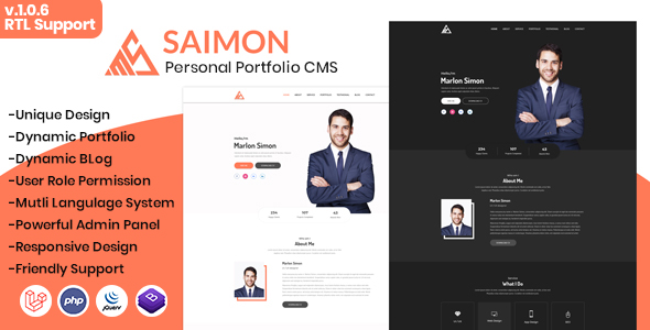 Saimon - Portfolio/CV/Resume CMS