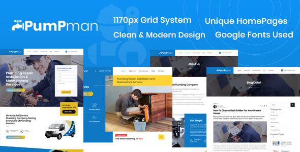 PumpMan – Plumber Website HTML Template