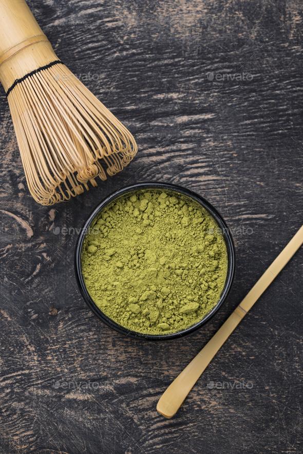 Japanese matcha green tea powder - Stock Photo - Images