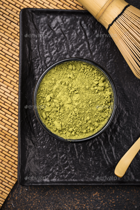 Japanese matcha green tea powder - Stock Photo - Images