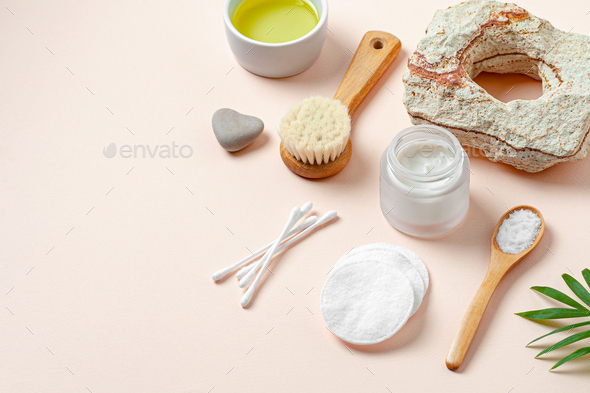 Accessories, cream and natural cosmetics for body care. Image with free space for text. - Stock Photo - Images