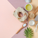 Accessories, olive oil and body care cosmetics on a light pastel background. - PhotoDune Item for Sale