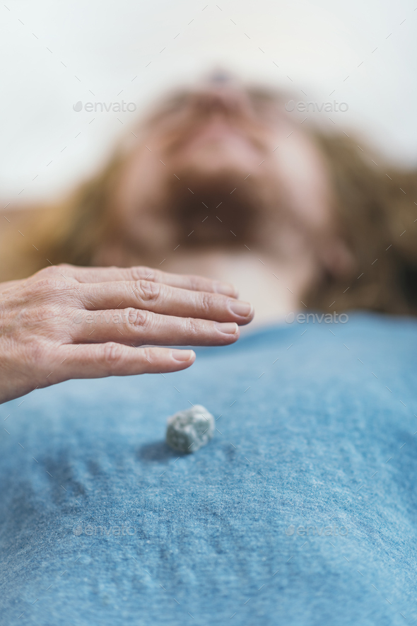 Chakras Therapy with Crystals - Stock Photo - Images