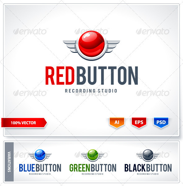 Red button logo template - Logo Templates