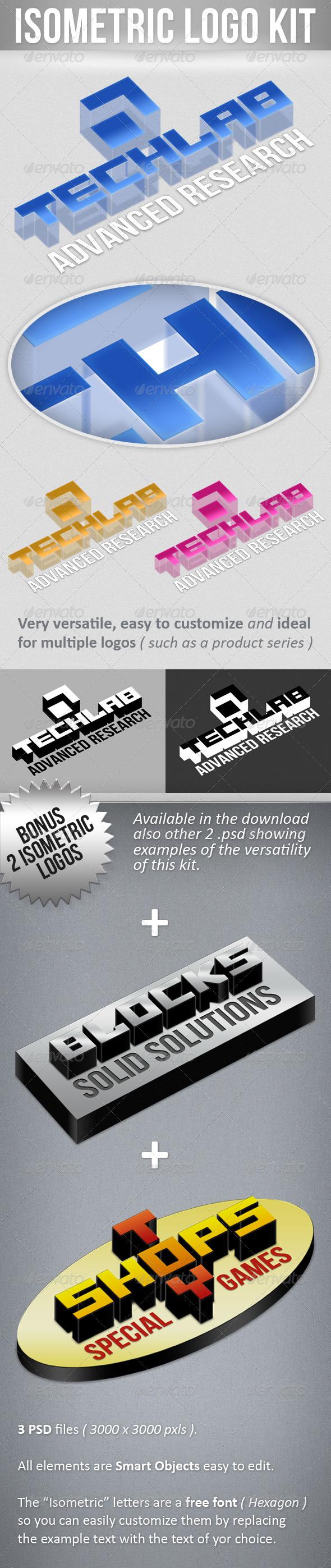 Isometric Logo Kit  - Letters Logo Templates