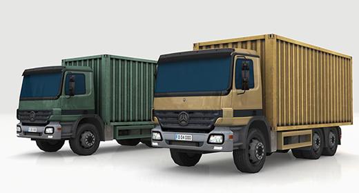 low-poly 3D model trucks
