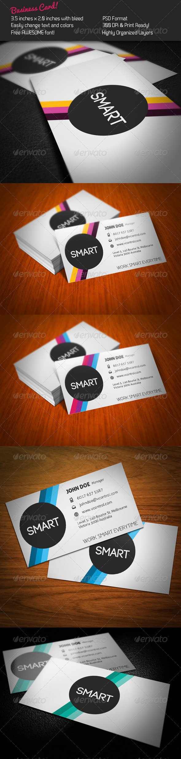 Smart Stripes Business Card - Corporate Business Cards