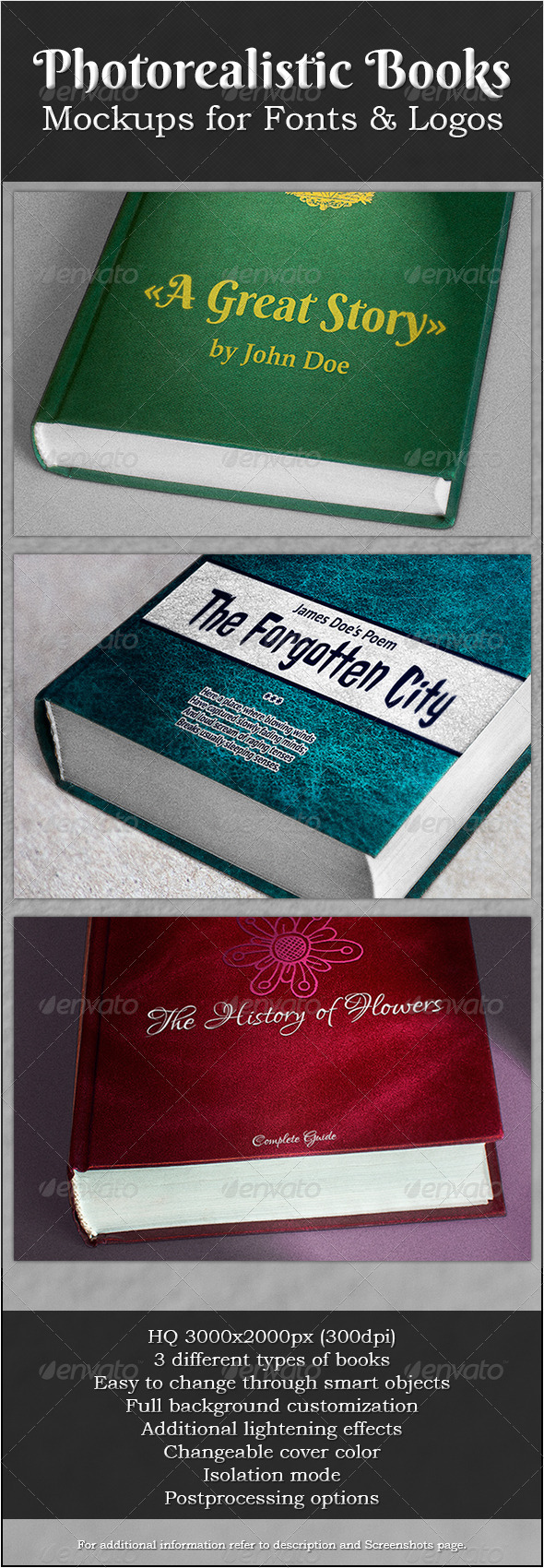 Photorealistic Books Mockups for Fonts & Logos - Logo Product Mock-Ups
