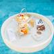 Breakfast and afternoon tea set floating around swimming pool - PhotoDune Item for Sale