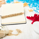 Notebook, starfishes and seashells, glass with sand - PhotoDune Item for Sale