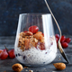 Chia pudding parfait with red grapes and almonds - PhotoDune Item for Sale