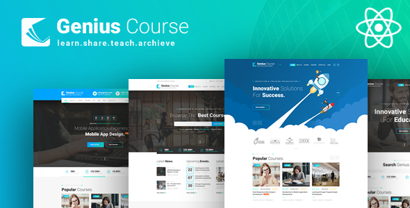 Genius Course - ReactJS School Classes Institute HTML Template
