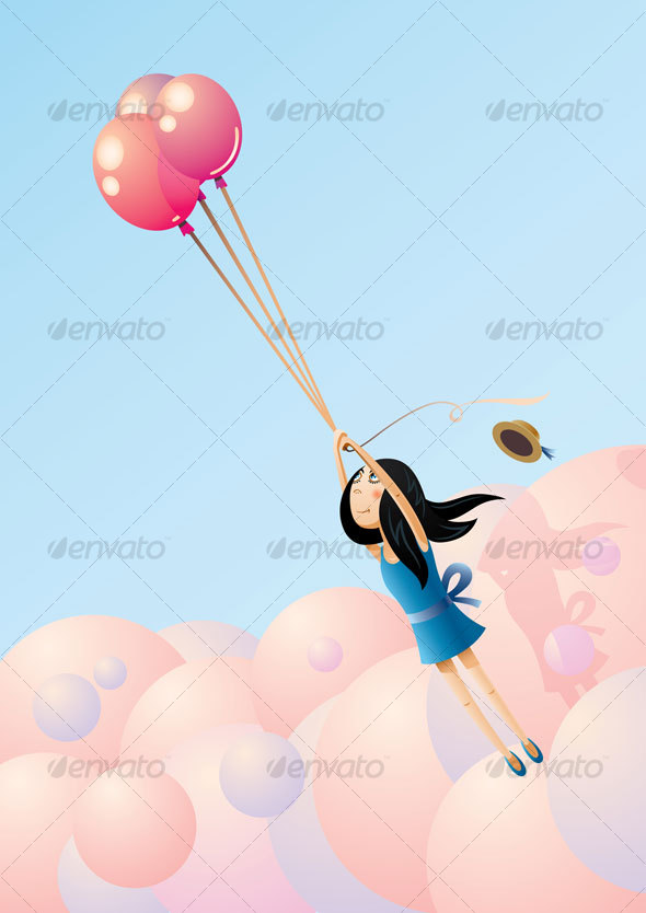 Balloon-Flying Girl - People Characters