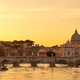 St. Peter's cathedral and Tiber river at sunset in Rome - PhotoDune Item for Sale