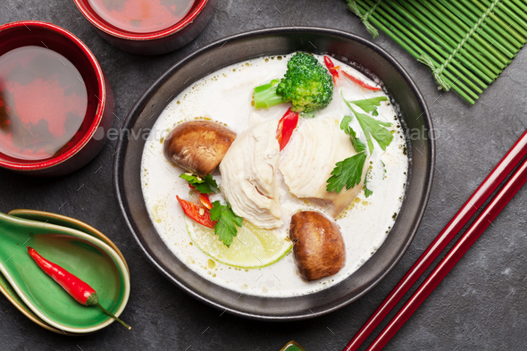 Tom Kha traditional Thai soup - Stock Photo - Images